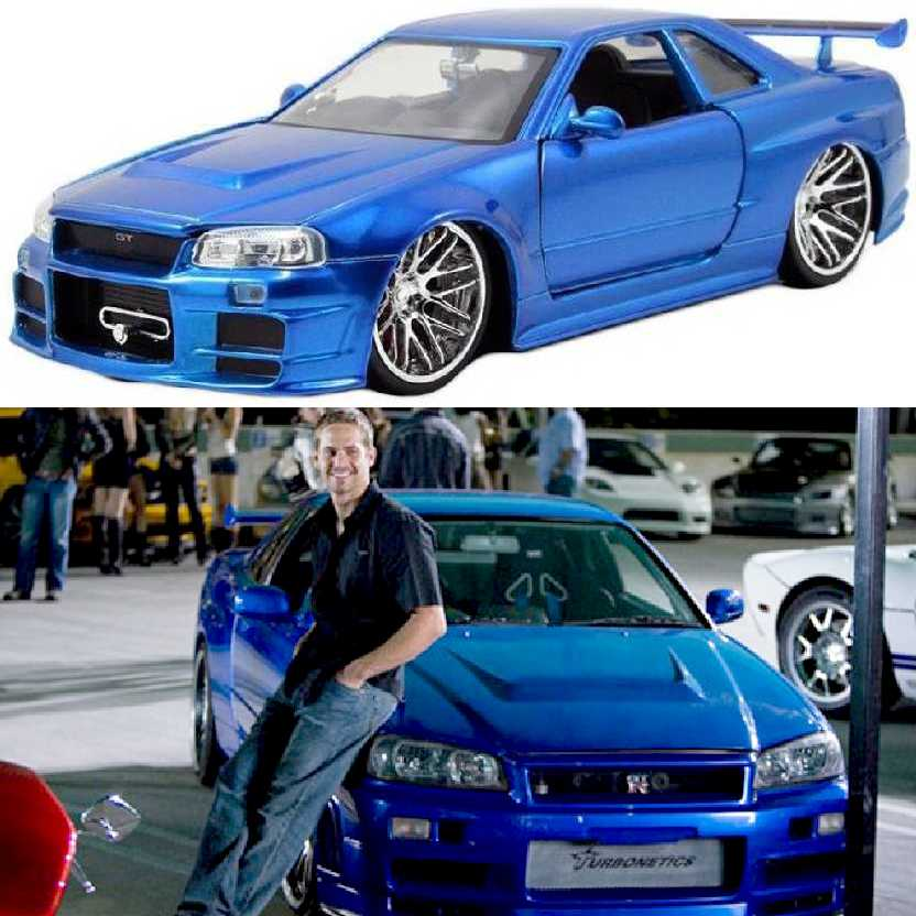 Carro do Brian Velozes e Furiosos 4 Nissan Skyline GT-R R34 Fast and Furious 4 escala 1/24