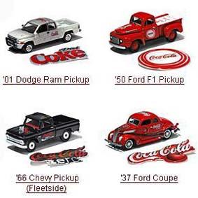 Carros c/ adesivos Coca-Cola (6 unidades)