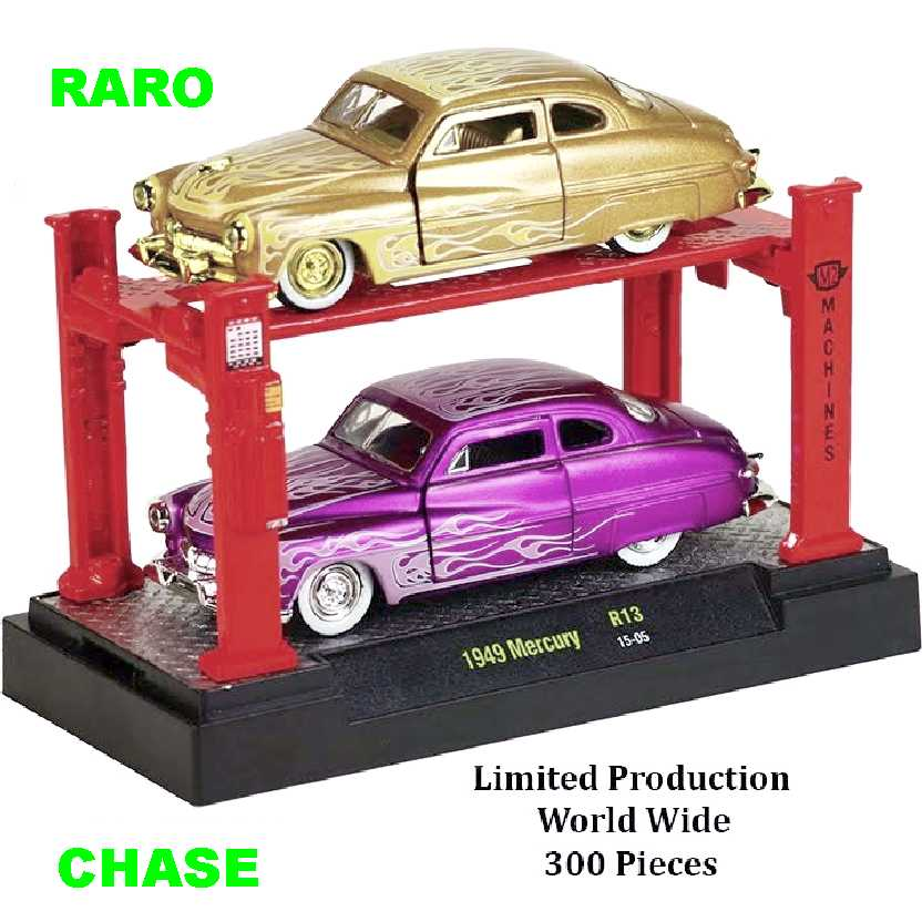 CHASE M2 Machines Auto Lift 2 pack 1949 Mercury release 13 escala 1/64 + Elevador