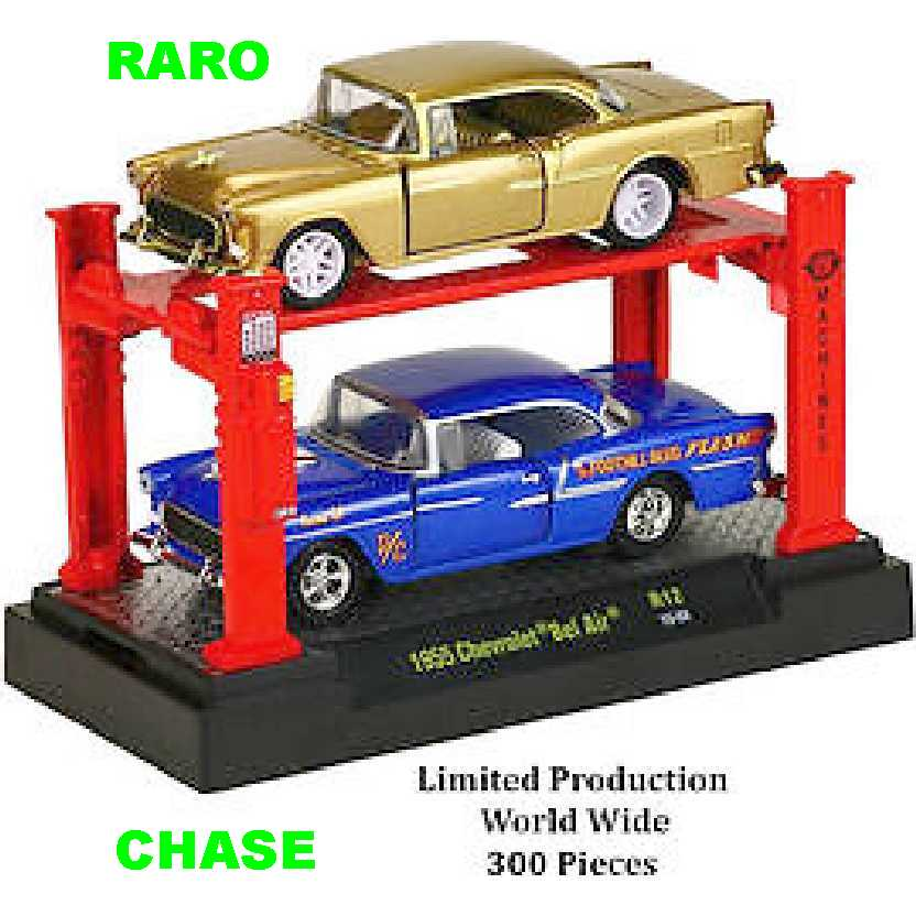CHASE M2 Machines Auto Lift 2 pack 1955 Chevrolet Bel Air release 12 escala 1/64