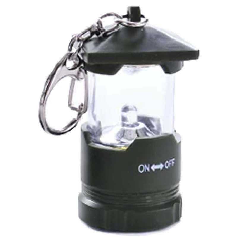 Chaveiro de lampião (lanterna cor verde com led de luz branca)