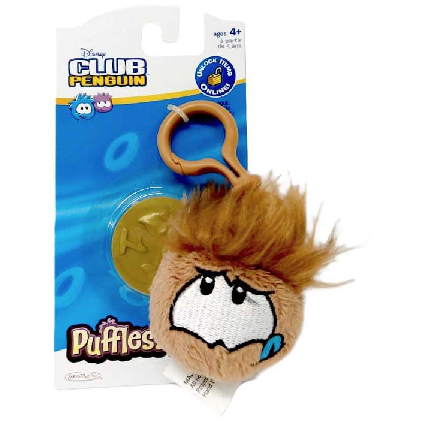 Chaveiro de pelúcia marrom Club Penguin Puffles Novo com moeda