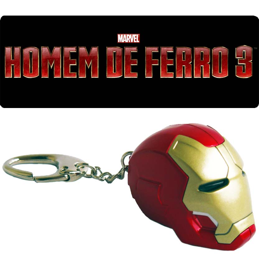 Chaveiro Marvel Iron Man 3 Mark XLII with light up - Iron Studios (acende os olhos) Piziitoys
