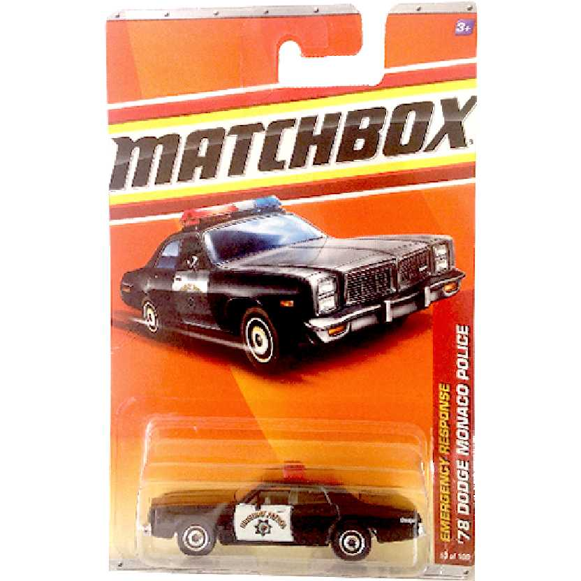 CHIPS 2010 Matchbox 78 Dodge Monaco Police Highway Patrol 53/100 T8944 escala 1/64