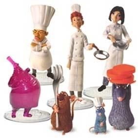 Cj. Ratatouille (aberto) Remy, Linguini, Colette, Emile, Django, Skinner e Gusteau