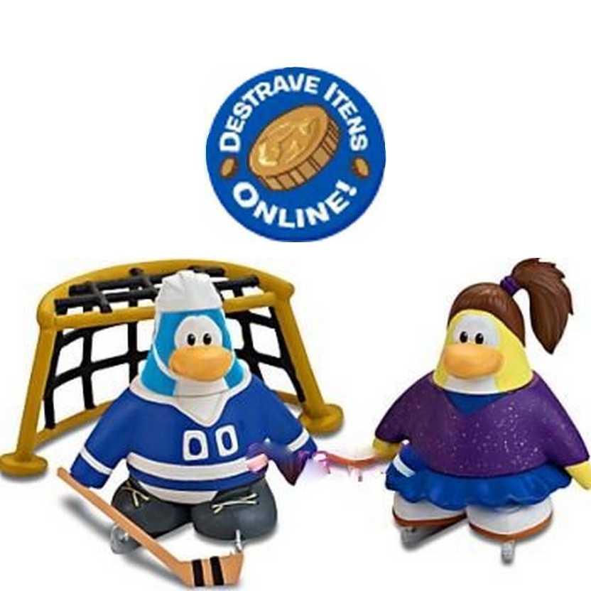 Club Penguin Mix N Match series 11 figures - Blue Figure Skater and Hockey Player (RARO)