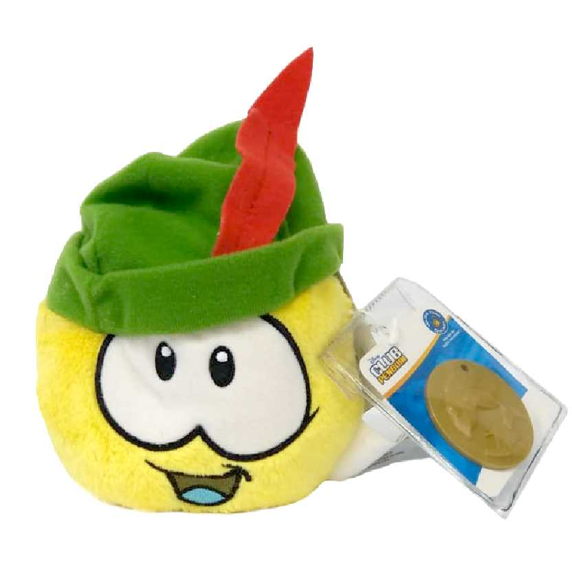Club Penguin Puffle amarelo com chapéu verde series 12 + moeda (4 polegadas)