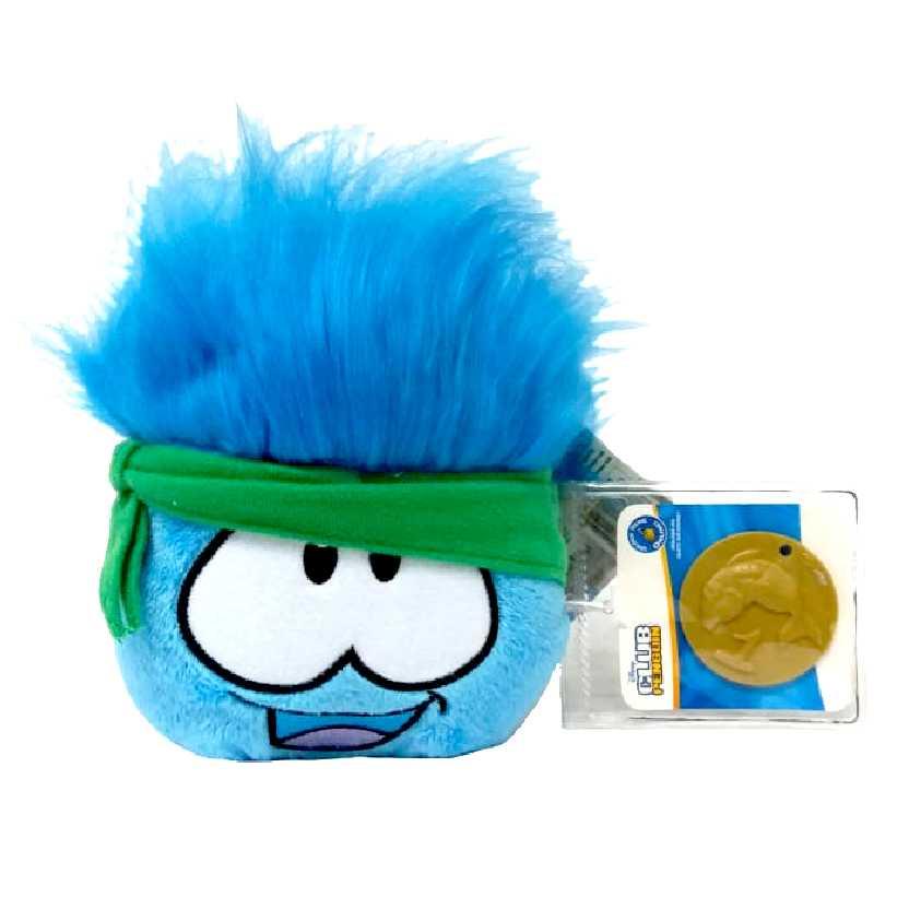 Club Penguin Puffle azul com bandana verde series 12 + moeda (4 polegadas)