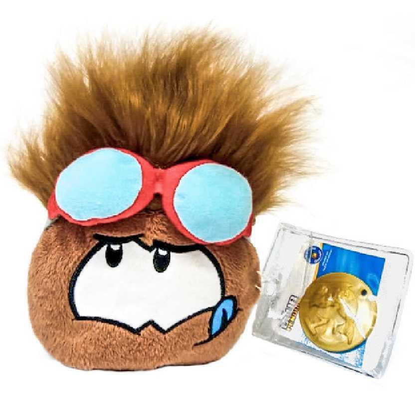 Club Penguin Puffle marrom com óculos vermelho series 12 + moeda (4 polegadas)
