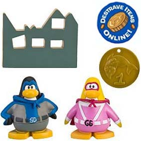 Club Penguin S9 Gamma Gal e Shadow Guy (aberto) com código