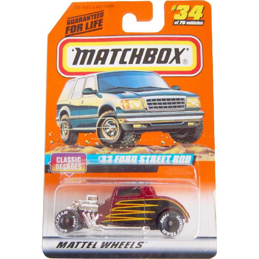Coleção 1988 Matchbox 33 Ford Street Rod #34 33834 escala 1/64
