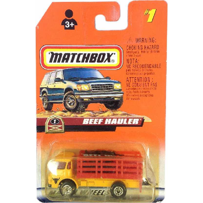 Coleção 1998 Matchbox Beef Hauler (caminhão com 2 bois) #1 36261 escala 1/64