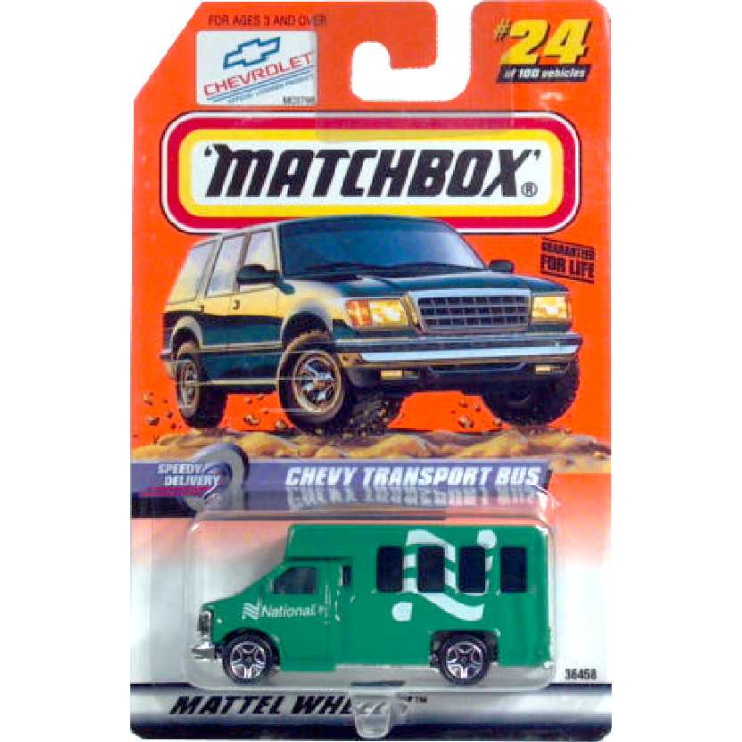 Coleção 1998 Matchbox Chevy Bus National series 5 #24 36458 escala 1/64
