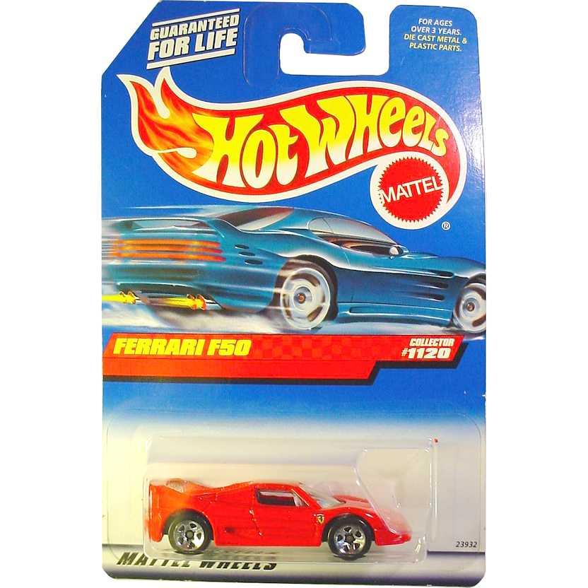Coleção 1999 Hot Wheels Ferrari F50 vermelha Collector #1120 23932 escala 1/64