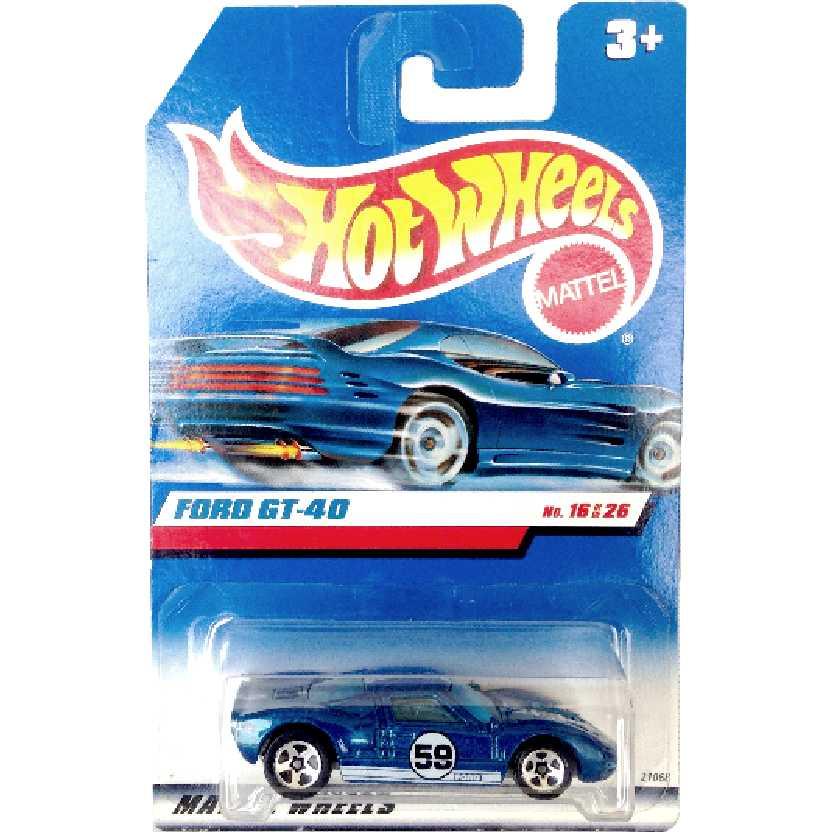 Coleção 1999 Hot Wheels Ford GT-40 azul series 16/26 21068 escala 1/64