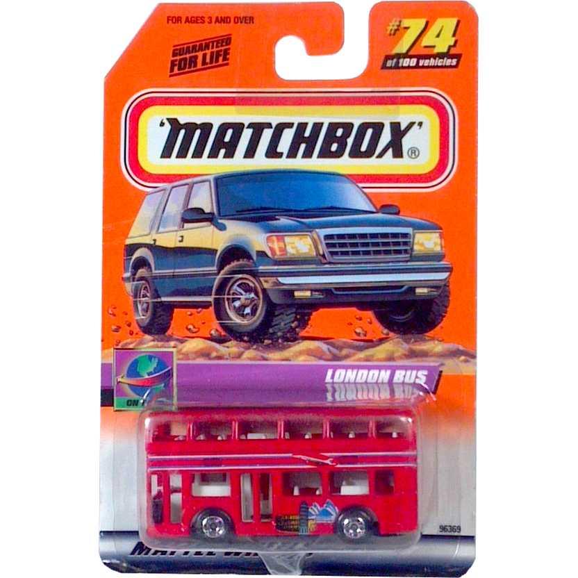 Coleção 2000 Matchbox London Bus (Double Deck) Vermelho escala 1/64 96369