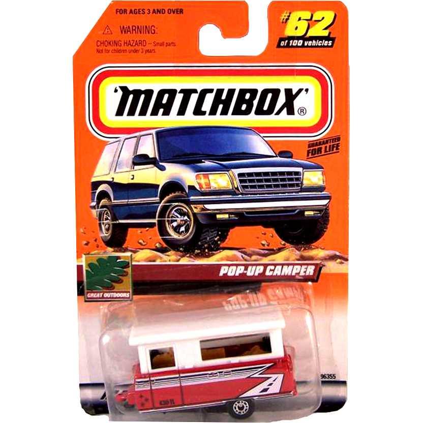 Coleção 2000 Matchbox Pop-Up Camper vermelho #62 escala 1/64 96355
