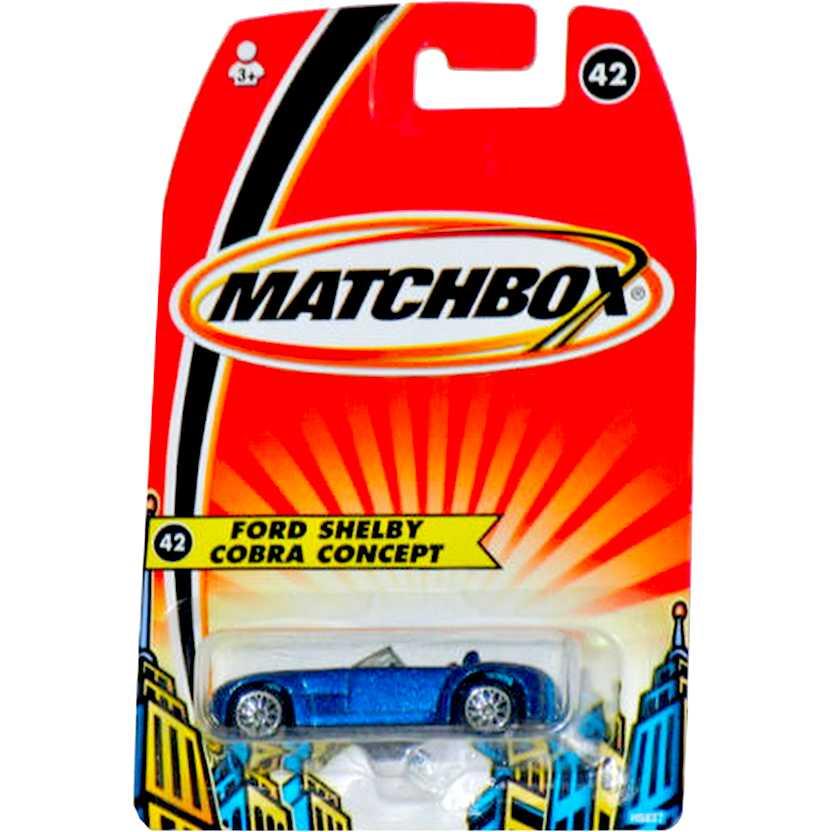 Coleção 2005 Matchbox Ford Shelby Cobra Concept número 42 H5837 escala 1/64