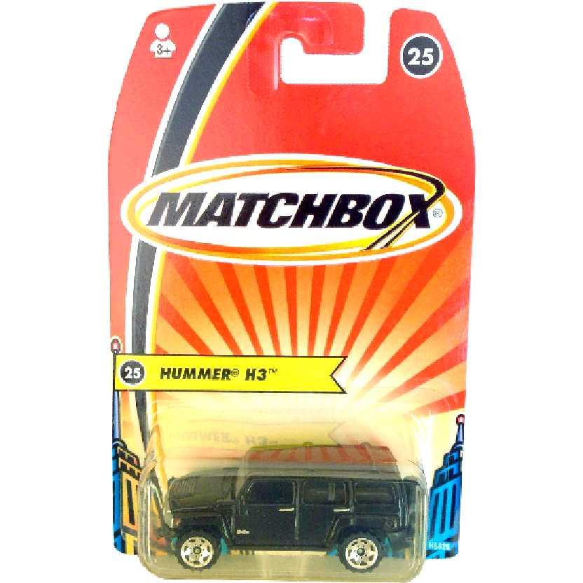 Coleção 2005 Matchbox Hummer H3 preto #25 H5826 escala 1/64