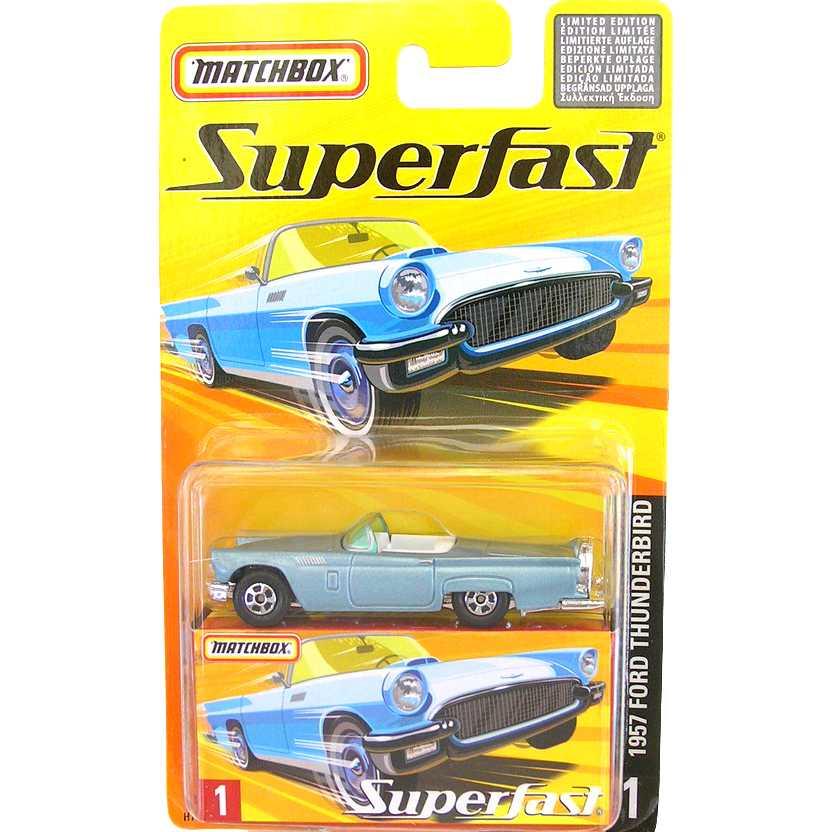 Coleção 2005 Matchbox Superfast 1957 Ford Thunderbird #1 H7734 escala 1/64