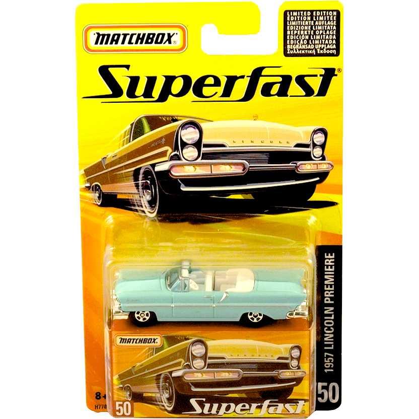 Coleção 2005 Matchbox Superfast 1957 Lincoln Premiere #50 H7784 escala 1/64