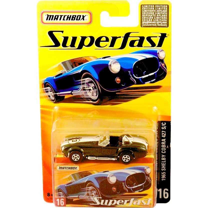 Coleção 2005 Matchbox Superfast 1965 Shelby Cobra 427 S/C #16 H7791 escala 1/64