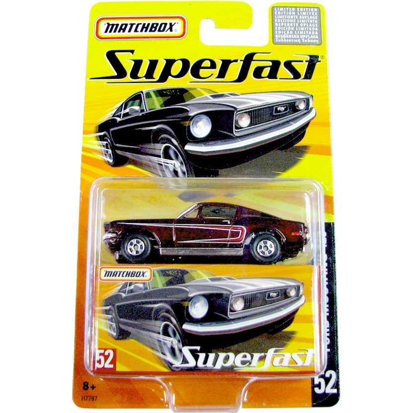 Coleção 2005 Matchbox Superfast 1968 Ford Mustang Cobra Jet 428 #52 H7797 escala 1/64