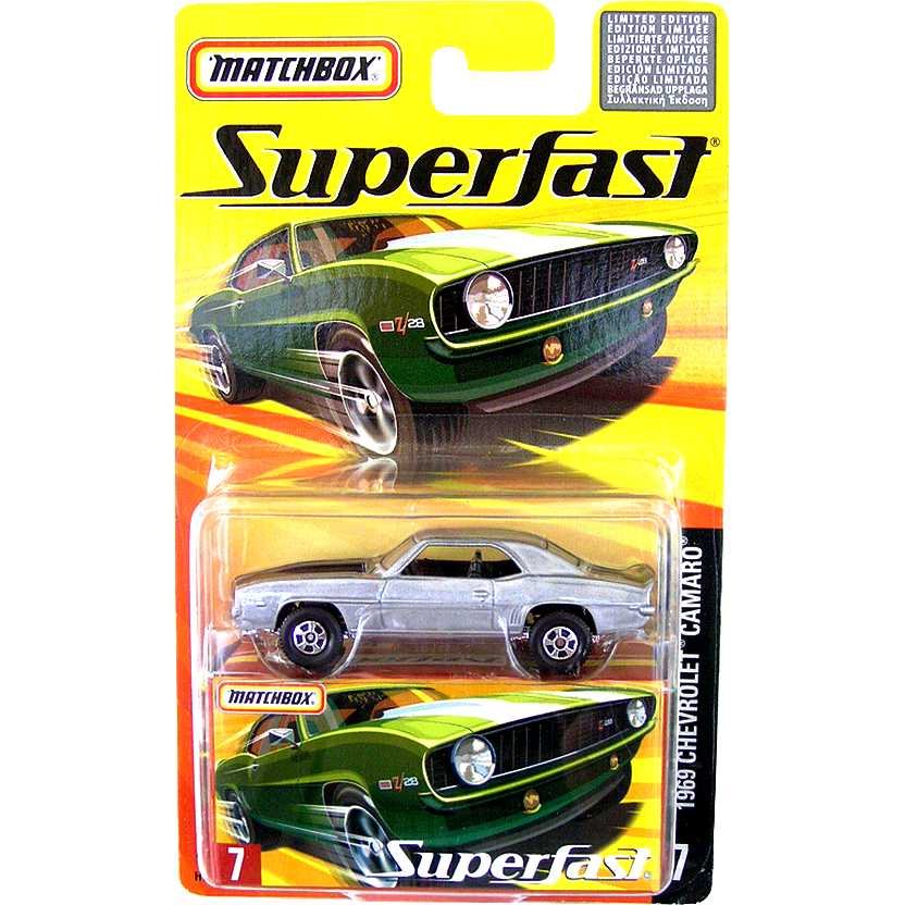 Coleção 2005 Matchbox Superfast 1969 Chevrolet Camaro #7 H7766 escala 1/64
