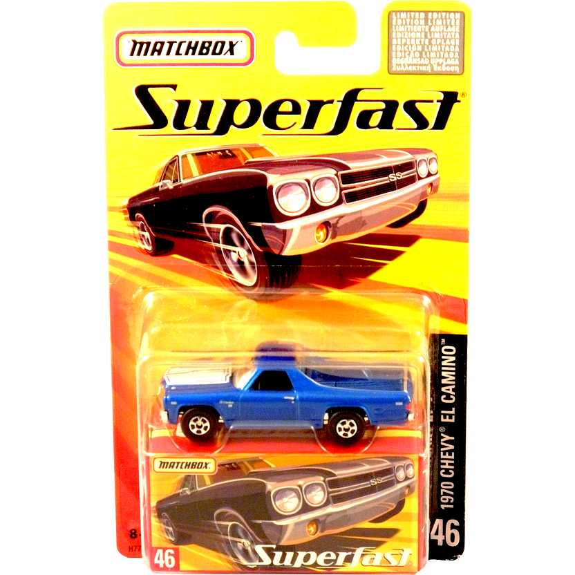 Coleção 2005 Matchbox Superfast 1970 Chevy El Camino #46 H7762 escala 1/64