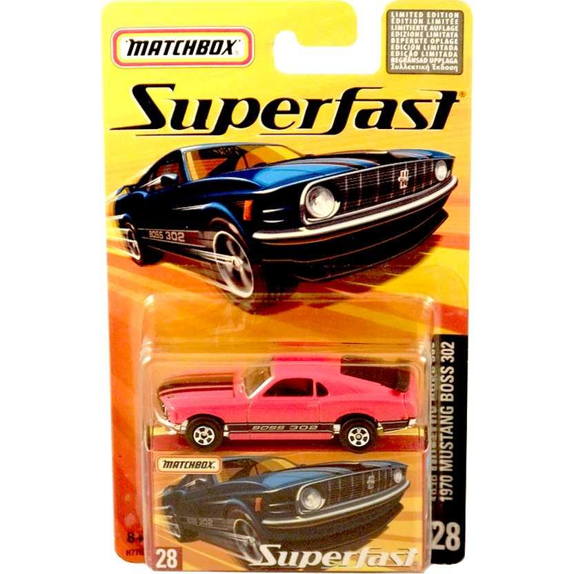 Coleção 2005 Matchbox Superfast 1970 Mustang Boss 302 vermelhor #28 H7757 escala 1/64
