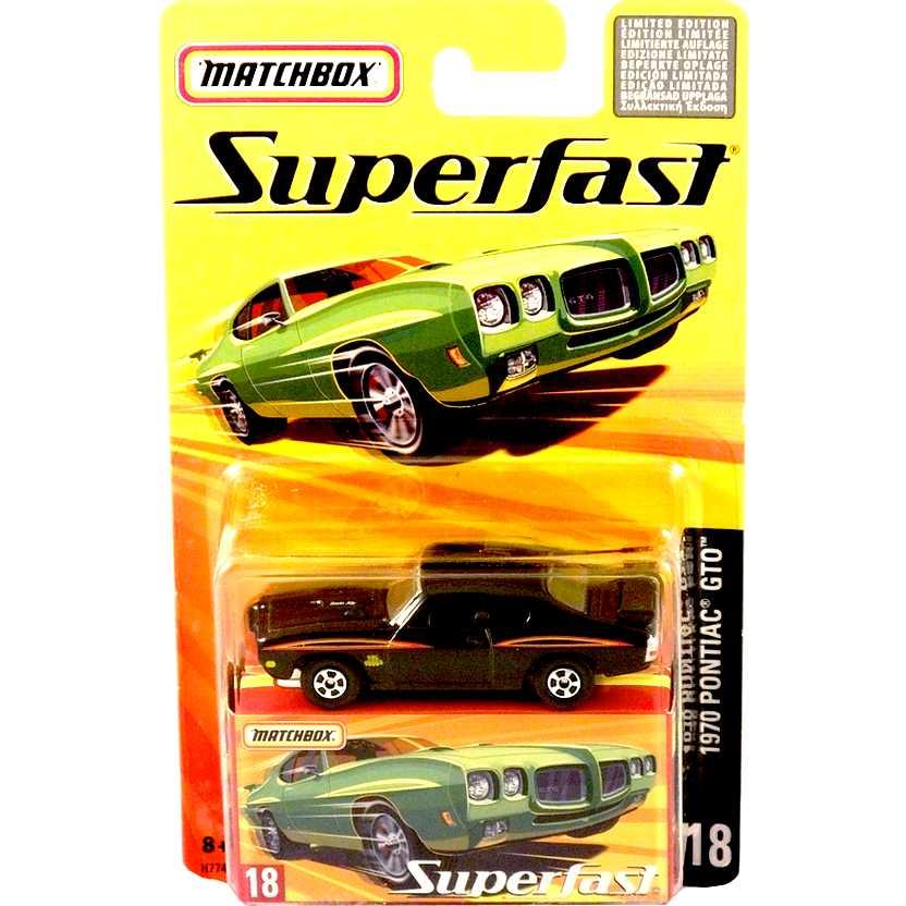 Coleção 2005 Matchbox Superfast 1970 Pontiac GTO #18 H7747 escala 1/64