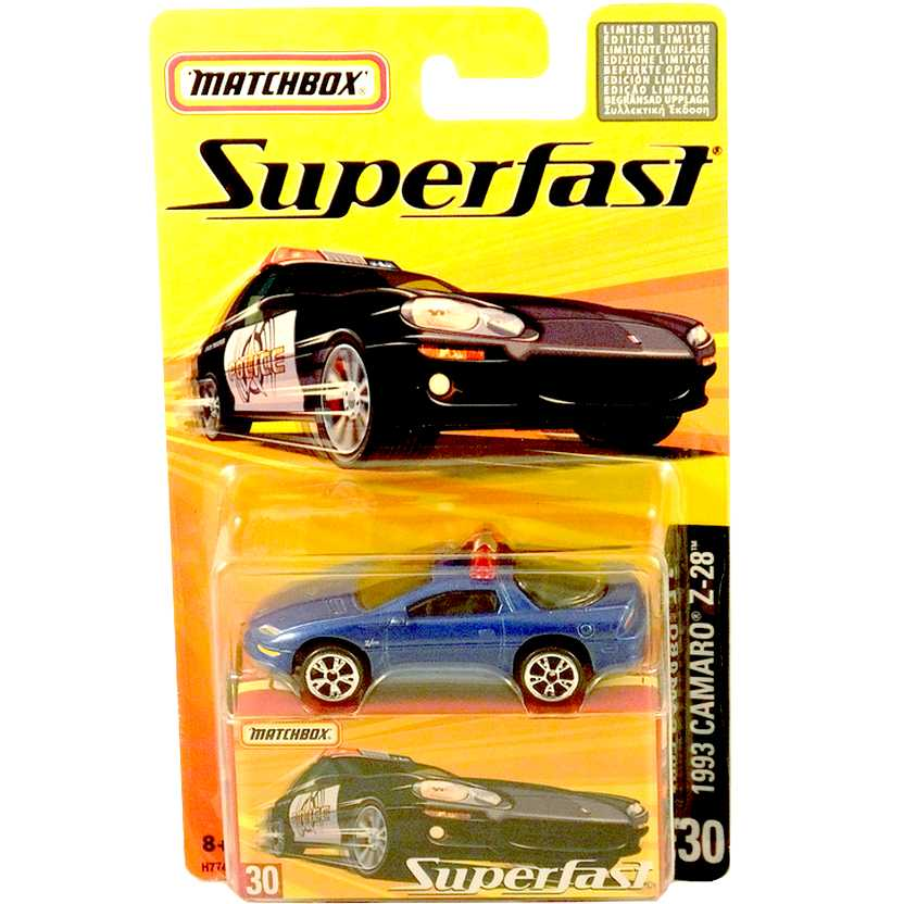 Coleção 2005 Matchbox Superfast 1993 Camaro Z-28 Police #30 H7744 escala 1/64