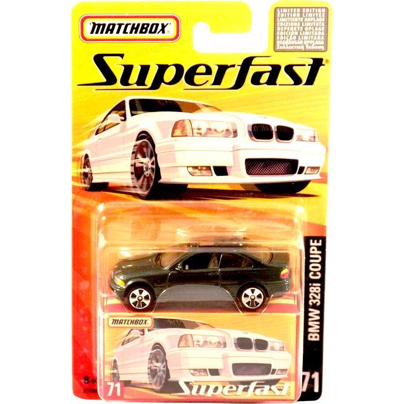 Coleção 2005 Matchbox Superfast BMW 328i Coupe verde metálico #71 H7796 escala 1/64