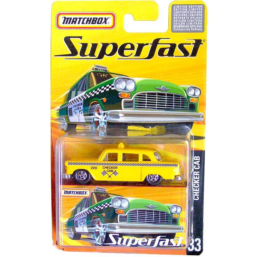 Coleção 2005 Matchbox Superfast Checker CAB #33 H7749 escala 1/64 Taxi raro
