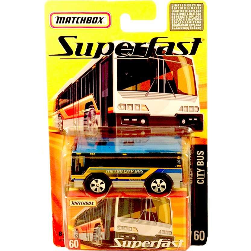 Coleção 2005 Matchbox Superfast City Bus #60 H7789 escala 1/64