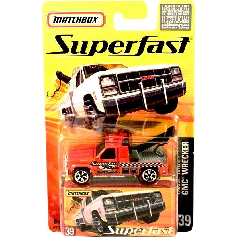 Coleção 2005 Matchbox Superfast GMC Wrecker Guincho #39 H7753 escala 1/64