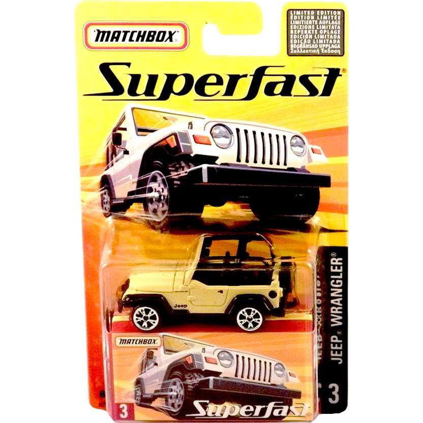 Coleção 2005 Matchbox Superfast Jeep Wrangler #3 H7737 escala 1/64
