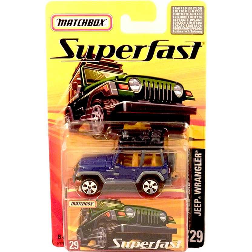 Coleção 2005 Matchbox Superfast Jeep Wrangler azul metálico #29 H7761 escala 1/64