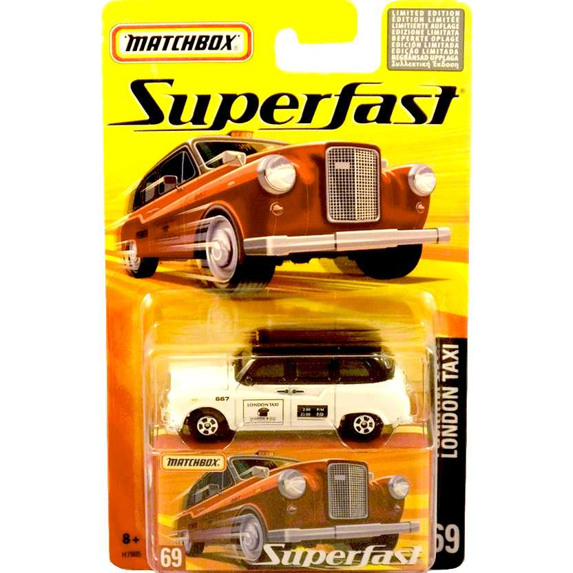Coleção 2005 Matchbox Superfast London Taxi #69 H7805 escala 1/64
