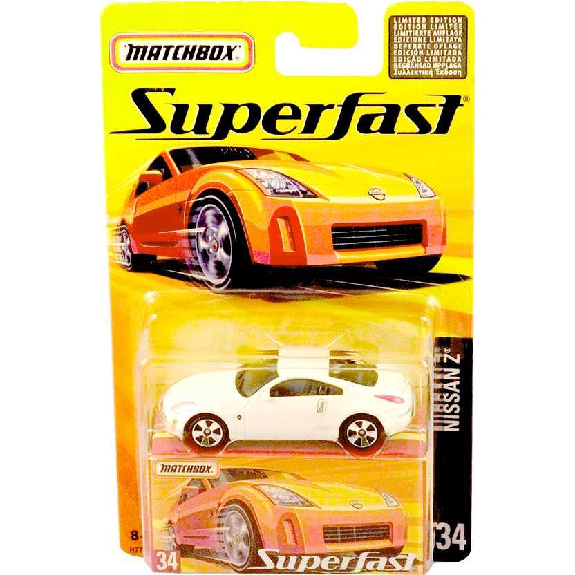 Coleção 2005 Matchbox Superfast Nissan Z branco #34 H7774 escala 1/64