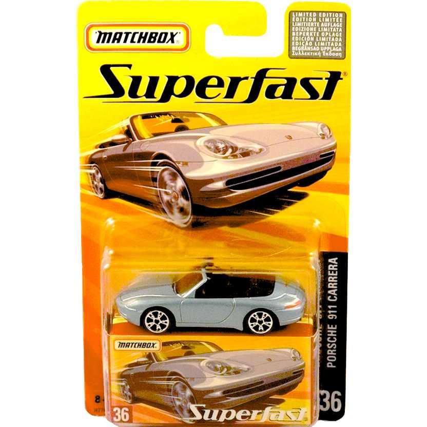 Coleção 2005 Matchbox Superfast Porsche 911 Carrera #36 H7746 escala 1/64