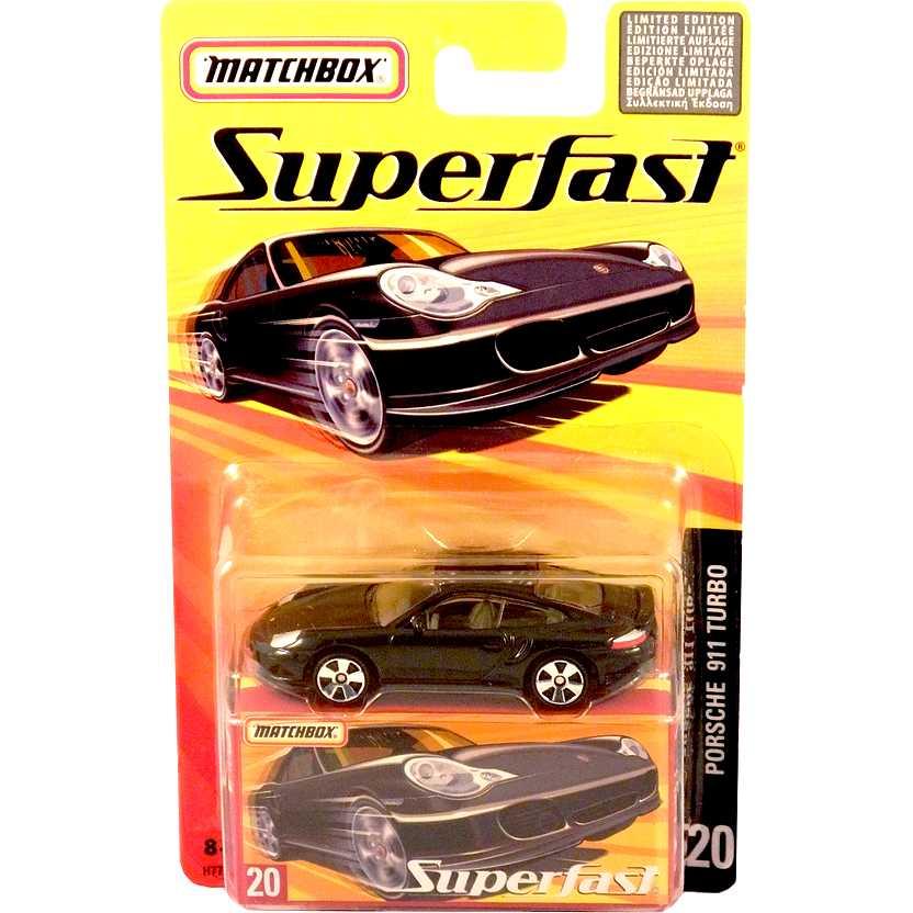 Coleção 2005 Matchbox Superfast Porsche Carrera Turbo preto #20 H7764 escala 1/64