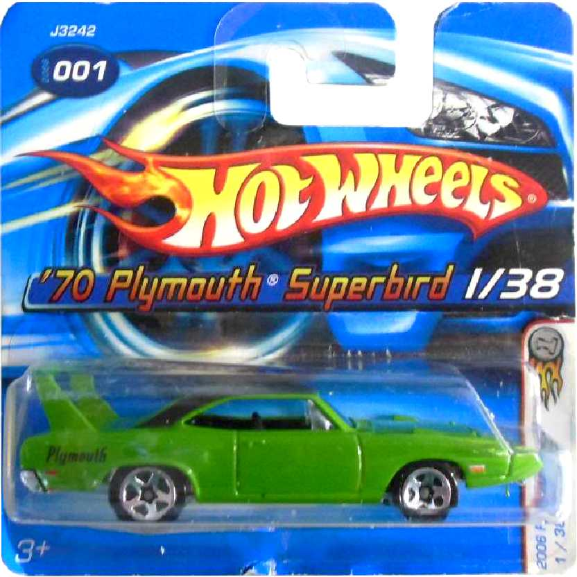 Coleção 2006 Hot Wheels 70 Plymouth Superbird series 1/38 001 J3242 escala 1/64