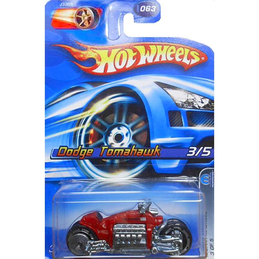 Coleção 2006 Hot Wheels Dodge Tomahawk vermelho J3389 series 063 escala 1/64