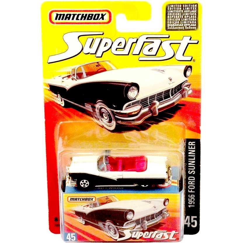 Coleção 2006 Matchbox Superfast 1956 Ford Sunliner #45 J6594 escala 1/64