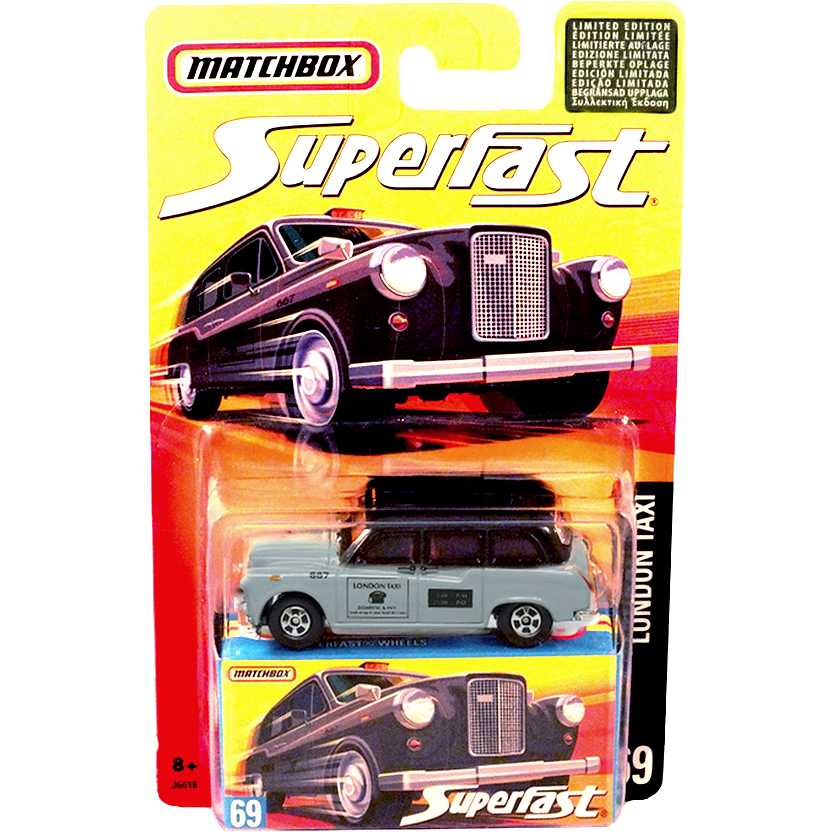 Coleção 2006 Matchbox Superfast London Taxi #69 J6618 escala 1/64