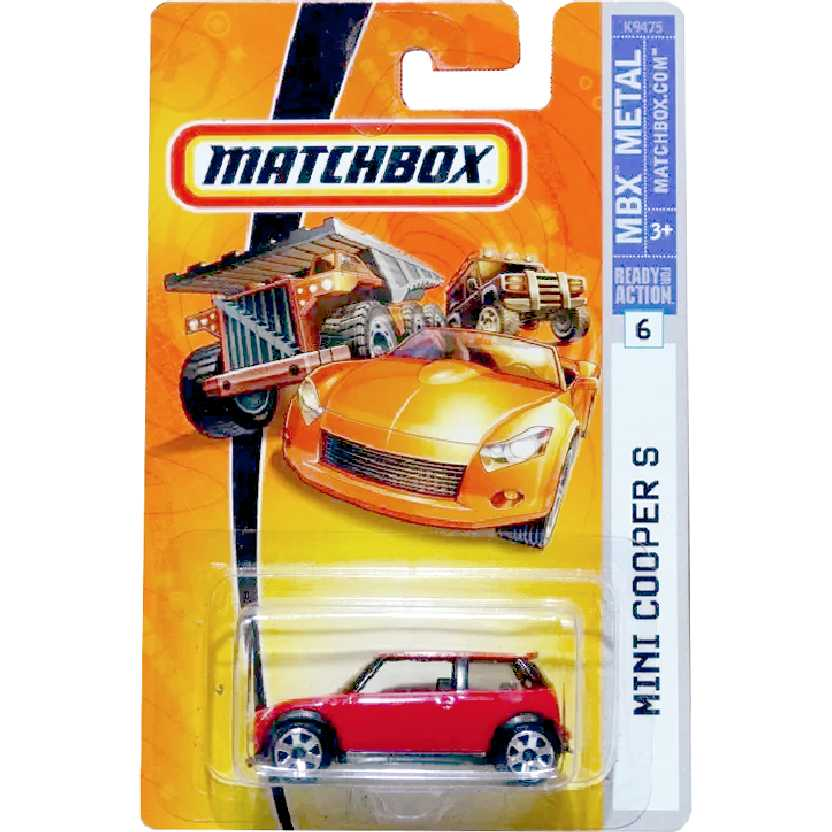 Coleção 2007 Matchbox Mini Cooper S vermelho #6 K9475 escala 1/64