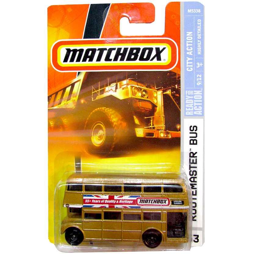 Coleção 2007 Matchbox Routemaster Bus dourado #53 escala 1/64 M5338