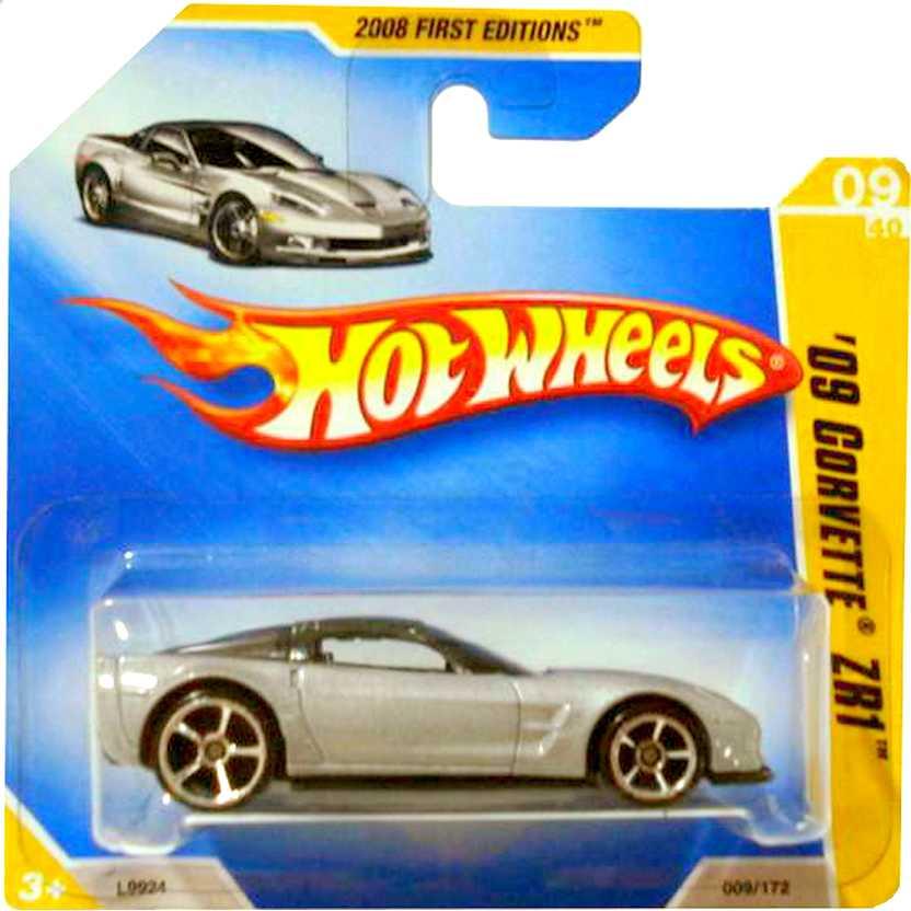 Coleção 2008 Hot Wheels 09 Corvette ZR1 prata series 09/40 009/172 L9924 escala 1/64