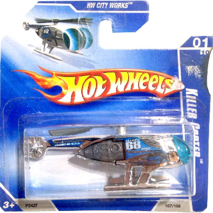 Coleção 2009 Hot Wheels Killer Copter cromado series 01/10 107/166 P2427 escala 1/64